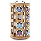 SleekDine Bamboo K-Cup Holder – Bamboo Coffee Pod Organizer – Single Serve Coffee Pod Holder – Coffee Stand for Kitchen Counter – Lazy Susan Coffee Organizer – K-Cup Carousel – Holds 24 K-Cups