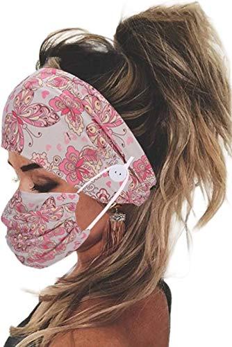 eBoutik - Diadema y máscara facial con botón para sujetar máscaras - Cobertura facial para gimnasios/correr, yoga/ejercicio (mariposas y corazones)