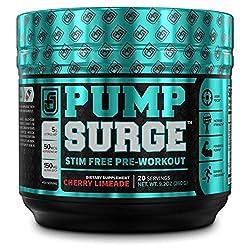 PUMPSURGE Caffeine-Free Pump & Nootropic Pre Workout Supplement, Non Stimulant Preworkout Powder & Nitric Oxide Booster,20 Servings, Cherry Limeade, 9.2 OZ