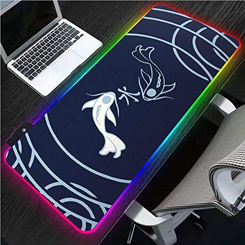 Large Mouse Pad RGB XXL Abstract Two Fish Black Seams Laptop LED with USB Non-Slip Gaming Accessories Desk Mat Gaming Mouse Pad-300x600x4mm_Fish