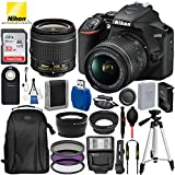 Nikon D3500 DSLR Camera with 18-55mm Lens (1590)- USA Warranty and 17PC Accessory Bundle – Includes SanDisk Ultra 32GB SDHC Memory Card + 3PC Filter Kit + Professional Backpack + More