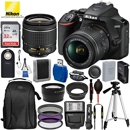 Nikon D3500 DSLR Camera with 18-55mm Lens - USA Warranty and 17PC Accessory Bundle – Includes...