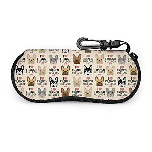Sherry-shop - Gafas de sol para perro Frenchie con clip para cinturón, bolsa de protección ligera de neopreno con cierre de cremallera, 17 cm × 8 cm