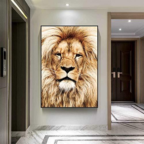 DSGTR Kunsthandwerk Leinwandmalerei für Kinder und Erwachsene/Afrikanische Wilde Löwe Kunstmalerei an der Wand für Wohnzimmer Wandkunst Poster und/oder Drucken Badezimmer Dekoration Wandbilder S