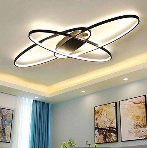 Wohnzimmer LED Deckenleuchten Dimmbare Leuchten Decke Unterputz mit Fernbedienung Deckenbeleuchtung, Modern Chic Oval Design Kronleuchter für Schlafzimmer Esszimmer Küchenlampe, Schwarz