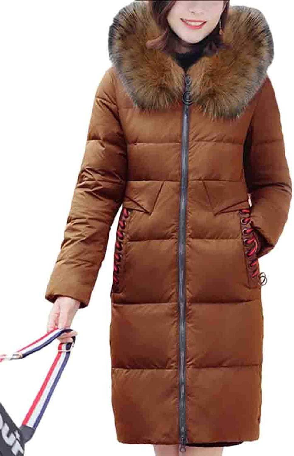 Esast Women's Winter Down Parka Maxi Coat Faux Fur Hood Puffer Coats Parkas