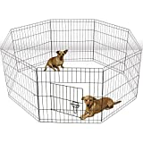 Olymstore 30'' Folding Metal Pet Pen,Portable Wire Dog Crate Cage Kennel Exercise Yard Fence,Puppy Rabbit Playpen