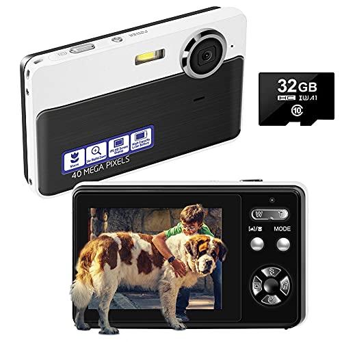 Digitalkamera Kompaktkameras 40MP 16X Digital Zoom Fotoapparat Digitalkamera mit 32 GB SD-Karte und Digitalkameras für Anfänger, Jugendliche, Kinder(Schwarz)