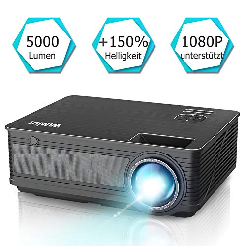 Beamer, WiMiUS P18[Update Version] 5000 Lumen Heimkino Projektor, 4000:1 Kontrast, Native 1280x800P Full HD 1080P unterstützt, HDMI VGA AV USB Kompatibel mit Amazon Fire TV Stick / Laptop / Mobil usw.
