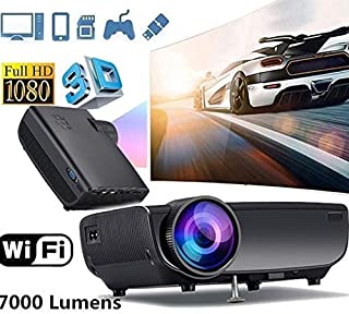 GrmeisLemc Portable 1080P Home Theater Projector with Battery Mini Projector Phone 4.0in LCD Screen 3D Full HD Remote Control WiFi Smartphone Slide Projector for Video Football Game Black