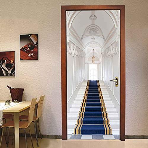 BARFPY Türtapete Selbstklebende 3D Blaues Treppenhaus Küche Wohnzimmer Badezimmer Schlafzimmer Wasserdicht Abnehmbare Fototapete TürfolieTüraufkleber Poster Wandbilder 77x200cm
