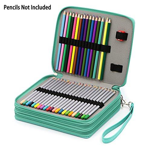 sumnacon Federmappe / Werkzeugtasche aus PU-Leder für 124 Stifte für professionelle oder Amateur-Zeichner