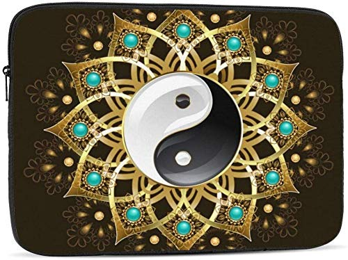 Yin Yang Mandala - Funda para portátil compatible con portátiles de 10 a 17 pulgadas, diseño de mandala, Yin Yang Mandala, 10 pulgadas
