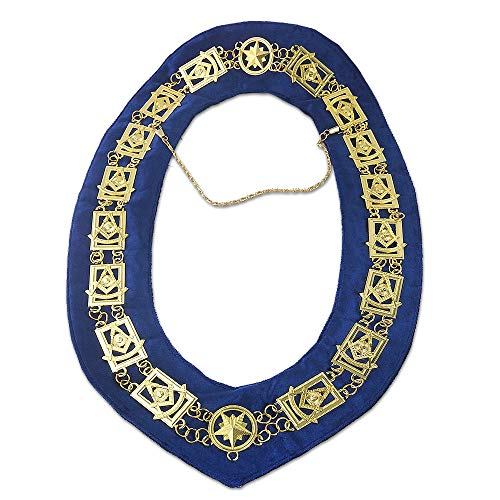 deDecoml Masonic Past Master Chain Collar Gold Plated Blue Backing