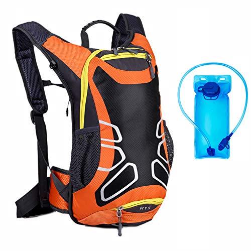 Mochila de hidratación con vejiga de agua de 2 l de 70 oz, mochila de ciclismo de 15 l con soporte para casco Mochila ligera Mochilas pequeñas para bicicleta, para senderismo al aire libre, esquí,