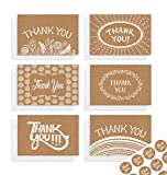 Thank You Cards with Envelopes | Boho Wedding Thank You Card Set of 48 with Stickers | Kraft Blank Thank You Notes for Weddings | Graduation | Small Business | Boho Baby Shower Thank You Cards Bulk | Rustic Thank You Cards | Premium Quality Thank You Cards Perfect For Wedding, Shower & Business | 4x6 inches