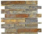 Azulejos de mosaico, pizarra, piedra natural, roja, pizarra rústica, revestimiento de pared, azulejos de cocina MOS34-2525