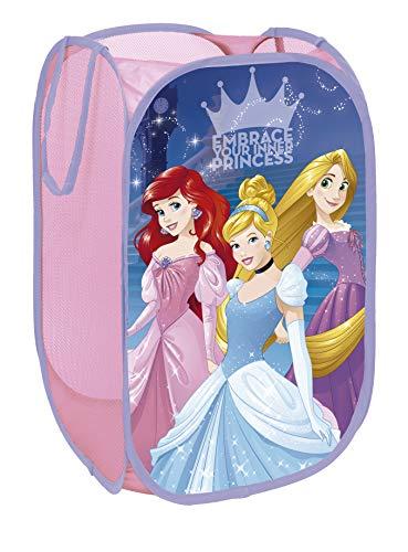 Superdiver Cesto Pieghevole Infantile di Tessuto con Maniglie - Principesse Disney I Cestino Organizzatore per Vestiti e Giocattoli (58x36x36)