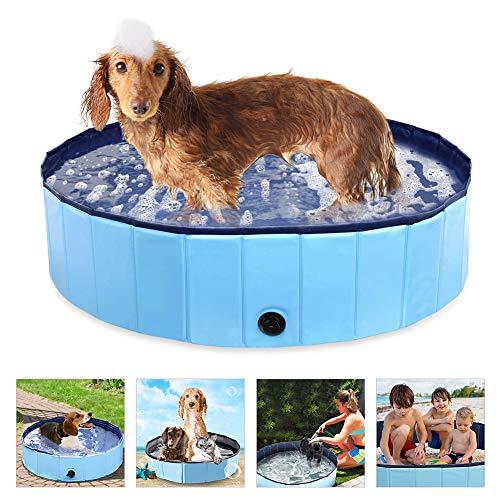 Laelr Hundepool Swimmingpool Für Hunde und Katzen Schwimmbecken Hund Planschbecken Hundebadewanne Faltbarer Pool mit PVC-rutschfest Verschleißfest Für Kinder Hund Katze Geschenk 120 * 30 cm