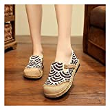 N&W Embroidered Shoes for Women Canvas Embroidered Espadrilles Ladies Loafer Shoes Flats Breathable Casual Slip On Sneakers Bohemian Style Ballerina Slippers brown-EU40
