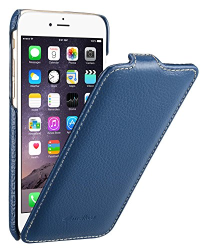 MELCKO Tasche passend für Apple iPhone 6S & 6 (4.7 Zoll), Hülle Außenseite aus beschichtetem Leder, Schutz-Hülle klappbar, Flip-Hülle, Ultra-Slim Cover, Etui, Blau