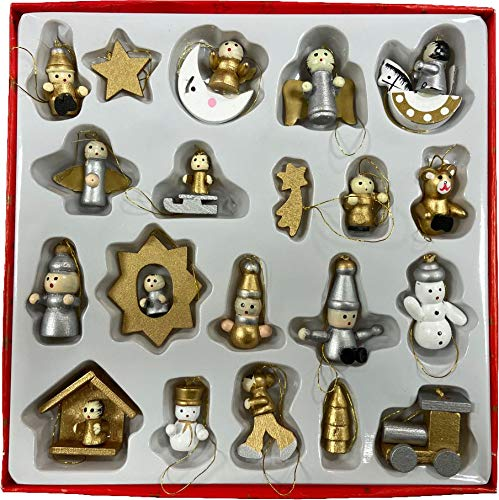 Quickdraw 20 Fine Detail Hand Made Traditional Wooden Christmas Tree Decorations Hanging Ornaments Nativity Figures