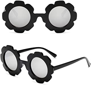 Kids Sunglasses, Girls flower Sunglasses Retro Sunglasses UV 400 Kids Round Sunglasses Beach Eyewear