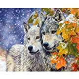 DIY Paint by Numbers for Adults and Kids Animal Wolf Couple Canvas Oil Painting,Paint by Numbers for Adults with Paint Brushes,Acrylic Paints 40x50cm