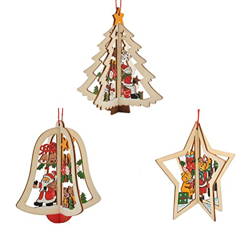Tinksky Addobbi Albero di Natale in Legno Forma di Mini Albero di Natale Stelle Campana di Natale 9 Pezzi