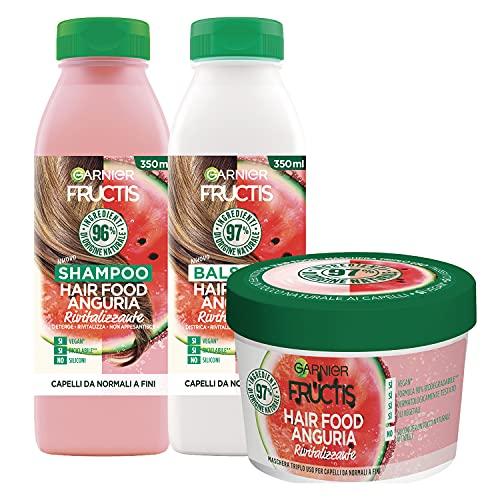 Garnier Fructis Hair Food Anguria Rivitalizzante, Kit con Shampoo, Balsamo e Maschera per Capelli Fini, 97% di Ingredienti di Origine Naturale, Senza Siliconi