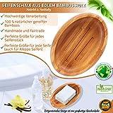 Grüne Valerie ® - Große edle nachhaltige Seifenschale/Seifenhalter/Soap Box Dish/aus Natur Holz (Bad, Dusche, Küche) - gereifter Bambus - 6