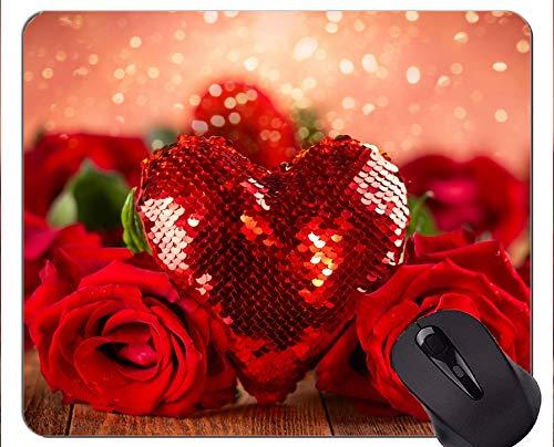 Cojín de ratón del rectángulo, Flor Color de Rosa del día de Tarjeta del día de San Valentín de la Forma del corazón - Bordes cosidos