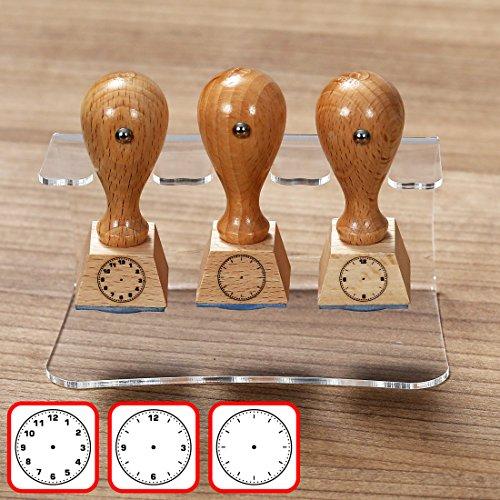Bütic 3er Set Lehrer- Holzstempel - Schulstempel mit Acrylhalter Ständer - Designs auswählbar, Stempeldesigns:3er Set 3 - Uhrzeit