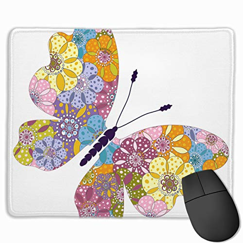 Preisvergleich Produktbild Spring Bright Colorful Floral Butterfly Mouse pad Custom Rectangular Non-Slip Rubber Mouse pad Gaming Mouse pad