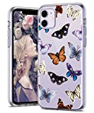 iPhone 11 Case 6.1 inch, Zenhole Floral Pattern Clear Design Transparent Hard Slim Case with TPU Bumper Protective Case Cover Compatible for iPhone 11 6.1 inch 2019 - Butterfly