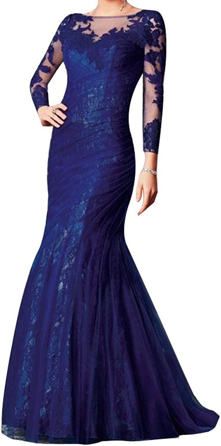 LISA.MOON Women's Bateau Mermaid Long Sleeve Full Length Tulle Lace Prom Dress