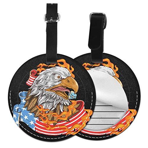 Eagle and American Flag - Juego de etiquetas de equipaje para maleta de piel personalizada, accesorios de viaje redondos, etiquetas de equipaje Negro Negro  1 unidad