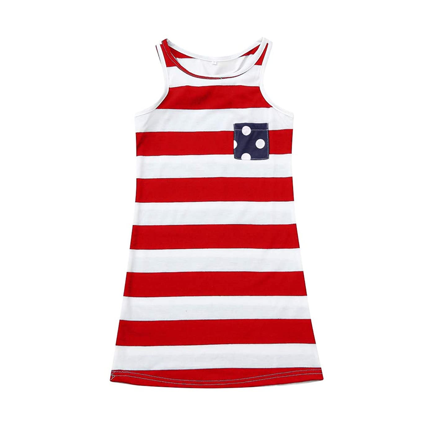 4th of July Family Outfits,SMALLE??? Mommy and Me American Flag Striped Dot Stitching Patriotic Maxi Dresses
