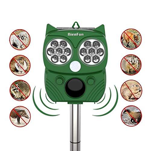 BienFun Waterproof Solar Cats Squirrels Raccoons Repeller Effectively Scares Away Cats, Dogs, Squirrels, Deer, Raccoon, Groundhog, Skunk, Birds