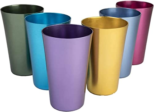popular 6 PCS Anodized Aluminum Tumblers - Multi online sale Colored Cups Set for Water Iced Coffee Drinking Metal Wine Glasses for Women Reusable Jewel Tumbler Cute Travel Mug for Ice Drinks & Hot Beverage Beach high quality Stuff outlet online sale