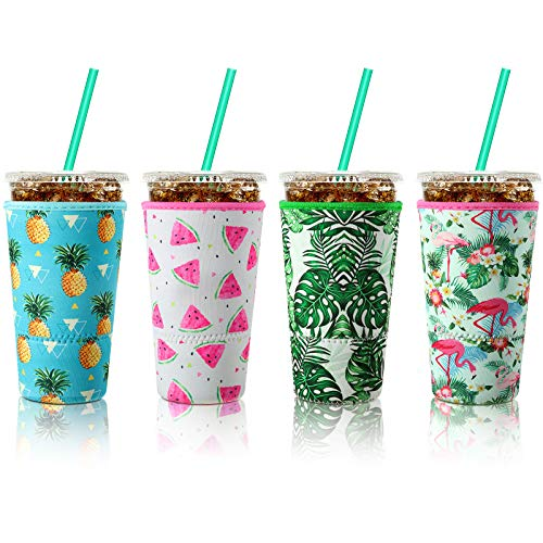 4 Pieces Reusable Coffee Sleeve Cup Insulator for Cold Drinks Beverages and Neoprene Holder for Most Coffee, Hawaiian Style, Fits 30-32 oz Large Cups