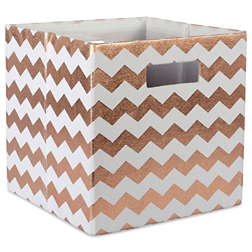 DII Hard Sided Collapsible Fabric Storage Container for Nursery, Offices, & Home Organization, (13x13x13') - Chevron Copper