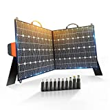 Techoss 100W Portable Solar Panel,18V Ultra-Compact Easy Carry Store Solar Generator for Power Station,Foldable Solar Charger with USB QC 3.0&Type C Output for Phones and camping hunting Fishing