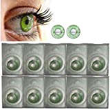 Diamond Eye Green Colored Contact Lenses Travel Set with Case and Solution By