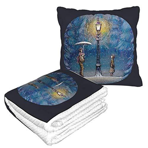 Narnia Kopfkissendecke aus hochwertigem Samt, weich, 2-in-1-Decke mit weicher Tasche, magische Laterne, Kissenbezug für Zuhause, Flugzeug, Auto, Reisen, Filme