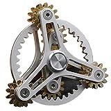 Pure Brass Fidget Spinner Gears Linkage Fidget Gyro Toy Metal DIY Hand Spinner Spins Long Time EDC Focus Meditation Break Bad Habits ADHD with Multiple Premium Bearings (12 Bearings White)