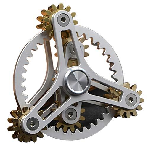 Pure Brass Fidget Spinner Gears Linkage Fidget Gyro Toy Metal DIY Hand...