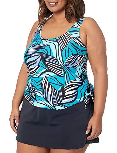 Maxine Of Hollywood Women's Plus-Size Scoop Neck Faux Tankini Swim Dress One Piece Swimsuit, Emerald//Zebra, 22