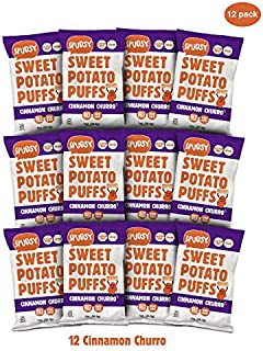 Spudsy Sweet Potato Puffs | 12 Pack | 1 oz Bags | Vegan, Gluten Free, Kosher, Allergen Free, Plant-Based | Made With Upcycled Sweet Potatoes (Crunchy Cinnamon, 12 Pack)