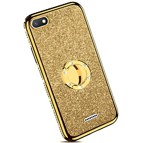 Ysimee Coque Compatible pour Xiaomi Redmi 6A Paillette Glitter Silicone TPU Etui Con Support Bague Strass Bling Brillante Couleur Placage Gel Case pour Fille/Femme Anti Choc Ultra Mince Housse,Or